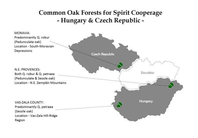 Carte des forêts de chêne de la Hongrie et de la République