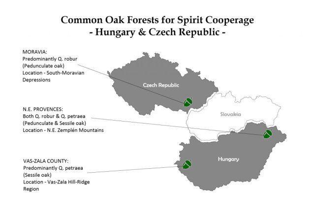 Carte des forêts de chêne de la Hongrie et de la République tchèque