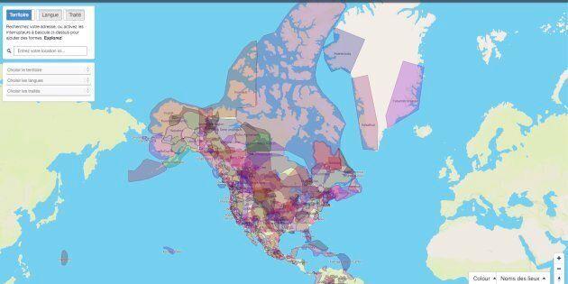 Une capture d'écran du site Territoires traditionnels, qui répertorie les territoires autochtones au...