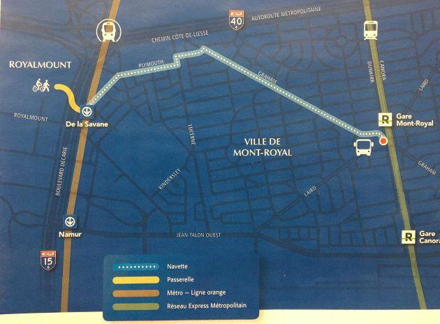 Carbonleo promet de relier le projet Royalmount à la station Mont-Royal du Réseau express métropolitain à l'aide d'une navette électrique à grande fréquence.