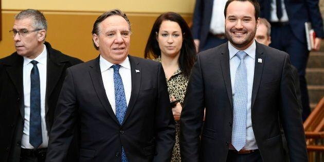 Le premier ministre François Legault en compagnie de son ministre responsable de l'Outaouais, Mathieu...