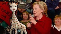 Hillary Clinton vient de découvrir Sophie la girafe (il était