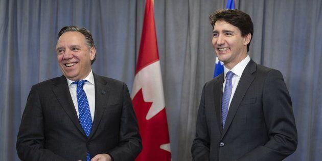 François Legault a rencontré Justin Trudeau en marge d'un caucus libéral à Sherbrooke, le 17 janvier