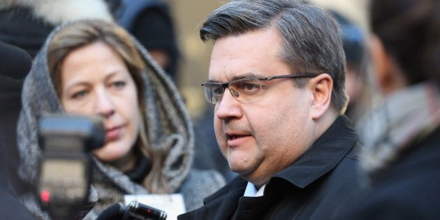 MONTREAL, QC - JANUARY 21: Montreal Mayor Denis Coderre attends a Public Memorial Service for Celine...