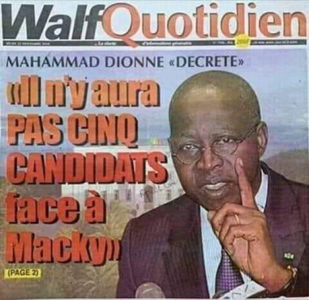 La Une du journal sénégalais «Walf Quotidien»