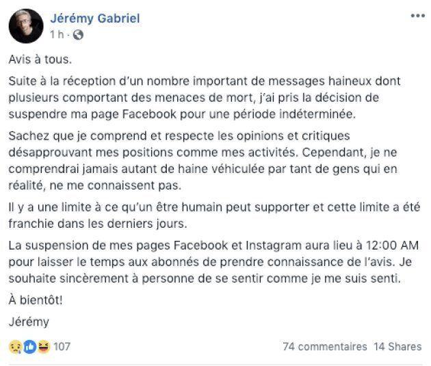 Jérémy Gabriel suspend ses comptes Facebook et