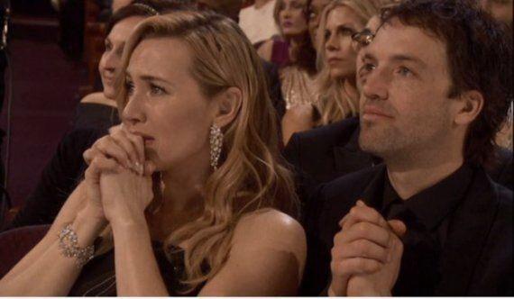 La réaction de Kate Winslet quand Leo DiCaprio a remporté son Oscar