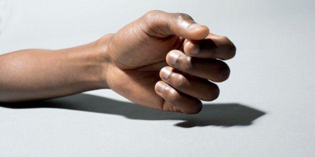 Black man's hand on