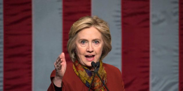 Democratic presidential candidate Hillary Clinton speaks at the Schomburg Center for Research in Black...
