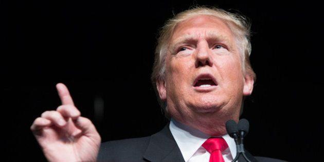 ATLANTA, GEORGIA- FEBRUARY 21: Republican presidential candidate Donald Trump speaks during a campaign...