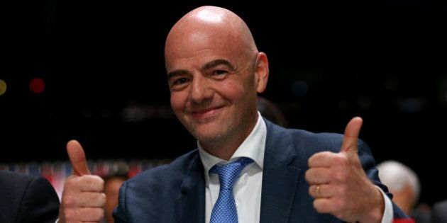 ZURICH, SWITZERLAND - FEBRUARY 26: FIFA Presidential candidate Gianni Infantino gives the thumbs up during...