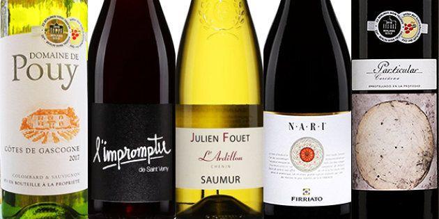 Étiquettes des 5 vins