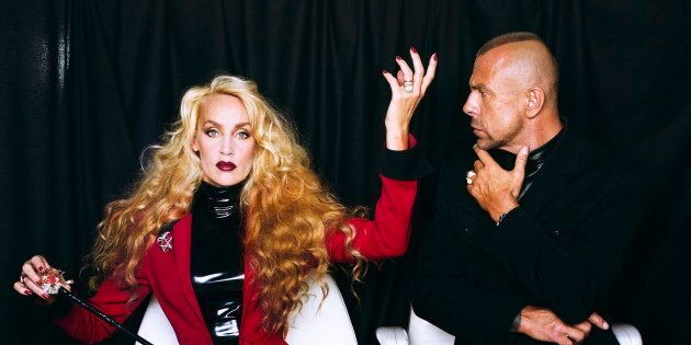 Helmut Newton, Jerry Hall et Thierry Mugler, Paris, 1996.