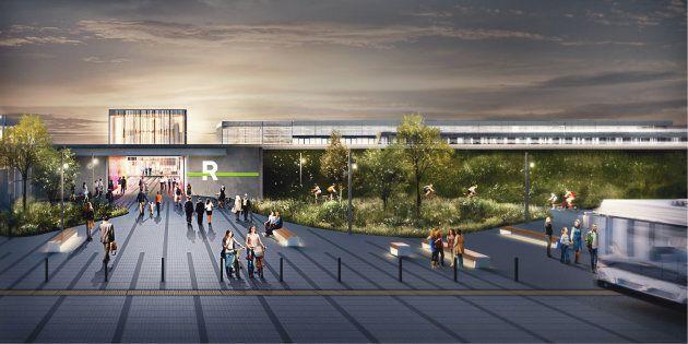 La future station Panama du Réseau express métropolitain (REM).