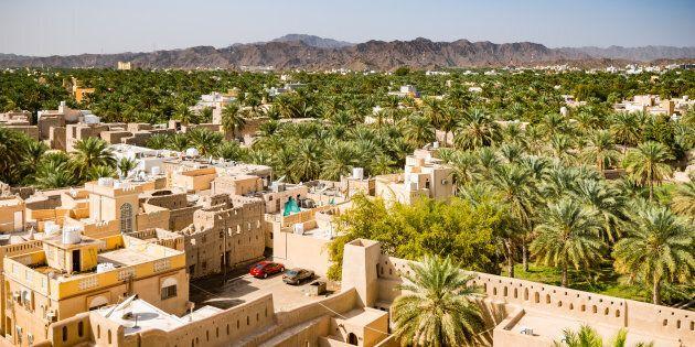 Vieilles maisons entourées de palmiers et de montagnes, Nizwa, Oman.