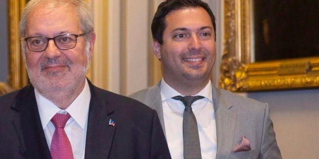 Antoine Atallah (droite) avec le chef intérimaire du PLQ, Pierre