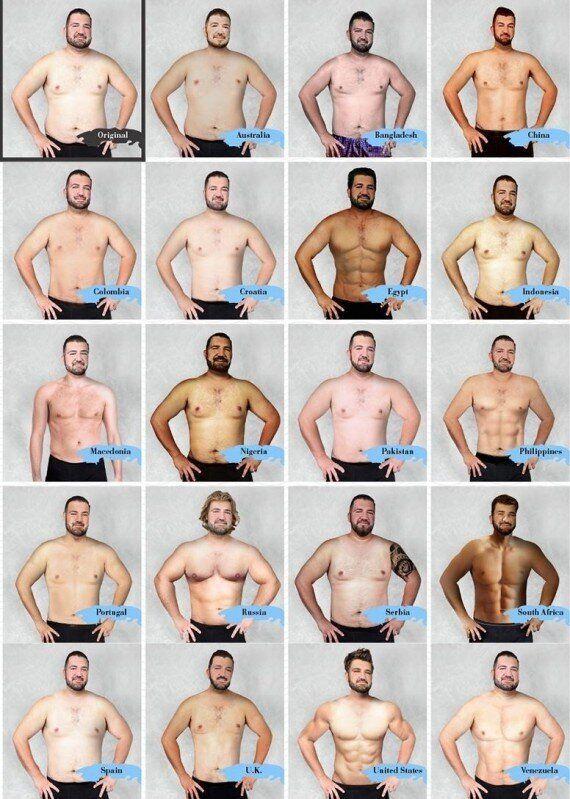 Cet homme a été retouché dans 19 pays pour illustrer les différentes perceptions de la perfection