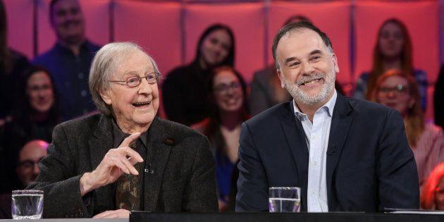 Le sociologue Guy Rocher était accompagné du journaliste et ex-ministre Pierre Duchesne, qui vient d'écrire...