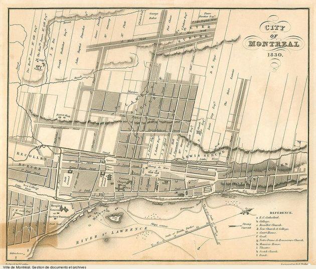 Une carte de Montréal datant de 1830. La jeune Université McGill était encerclée par le ruisseau Burnside et le ruisseau de la rue Sainte-Catherine, rue qui n'existait pas encore. La rue Sherbrooke s'appelait Mary Street et n'atteignait pas encore l'université.