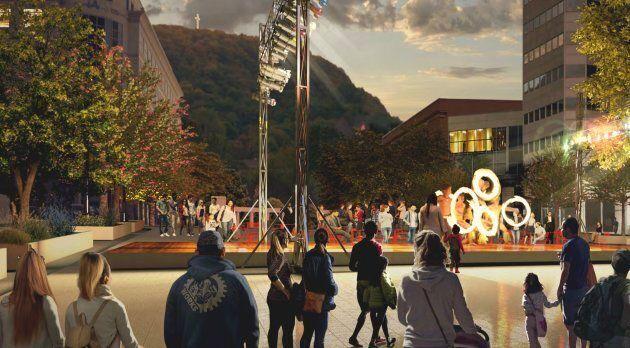 Maquette du réaménagement possible de l'avenue McGill College, au centre-ville de Montréal.