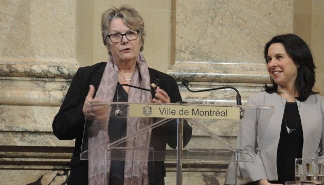 Chantal Rouleau, ministre déléguée aux Transports et ministre responsable de la Métropole, avec la mairesse...