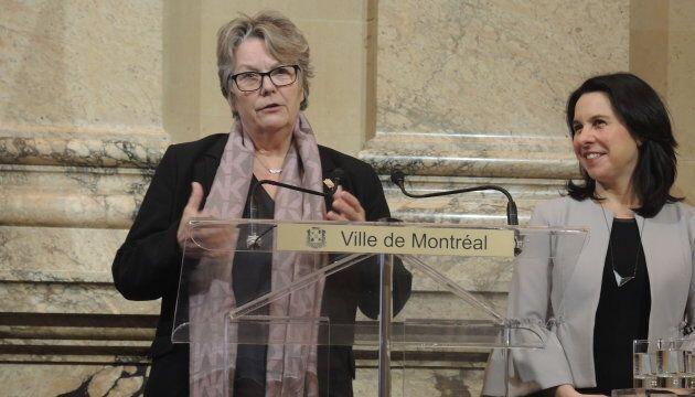 Chantal Rouleau, ministre déléguée aux Transports et ministre responsable de la Métropole, avec la mairesse de Montréal, Valérie Plante.