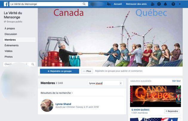 Lynne Shand, élue dans l'arrondissement d'Anjou, à Montréal, est membre du groupe Facebook «La Vérité du Mensonge». Le groupe véhicule toutes sortes de théories du complot et de messages anti-immigration.