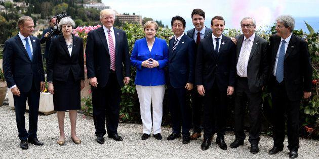 Les leaders du G7 lors du sommet de Taormina, en Italie, le 26 mai,