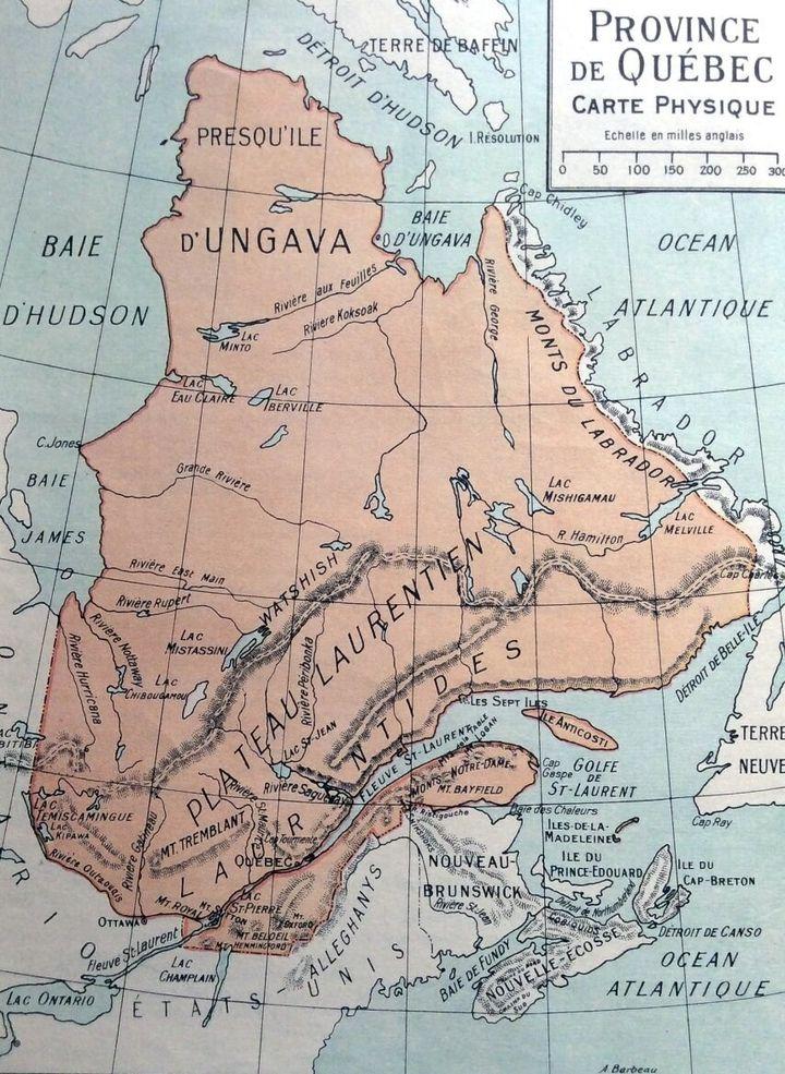 Carte des Frères maristes datant de 1926 délimitant le Québec et la côte du Labrador. (par Henri Lessard sur Géo-Outaouais)