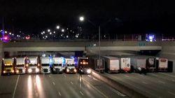 Des camionneurs s'unissent pour empêcher un homme de se