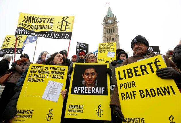 Une manifestation pour la libération de Raif Badawi, Ottawa, janvier 2015.