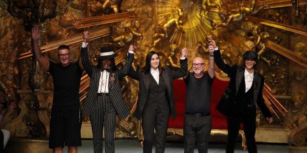 Stefano Gabbana, Naomi Campbell, Monica Bellucci, Domenico Dolce et Marpessa Hennink à Milan,
