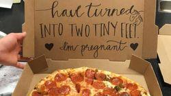 Elle complote avec une pizzeria pour annoncer sa