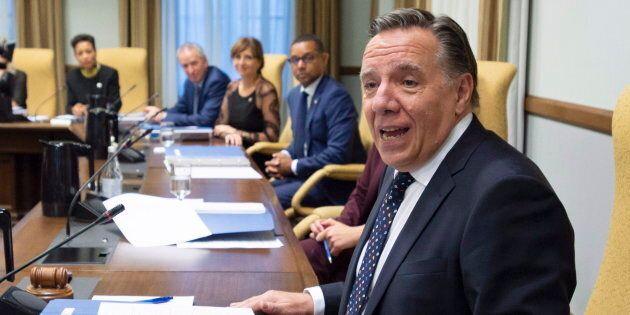 Le premier ministre François Legault lors de sa première réunion avec son conseil des ministres, le 18...