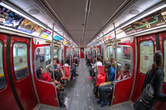 TORONTO, ONTARIO, CANADA - 2018/09/27: Wide angle of a TTC subway train interior. This vintage cars are...