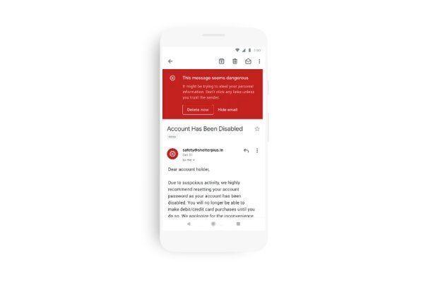 Google fera apparaître un avertissement de couleur rouge sur les courriels ressemblznt à un virus ou à une tentative d'hameçonnage.