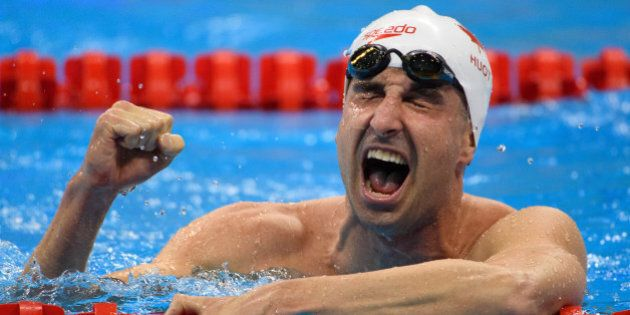 Benoit Huot CAN finishing third in the Men's 400m Freestyle - S10 Final. Swimming in the Olympic Aquatics...