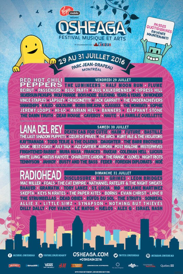 Osheaga 2016: La programmation quotidienne