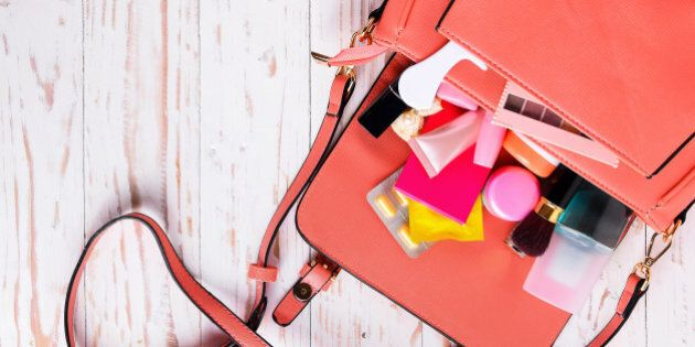women bag with cosmetics with...