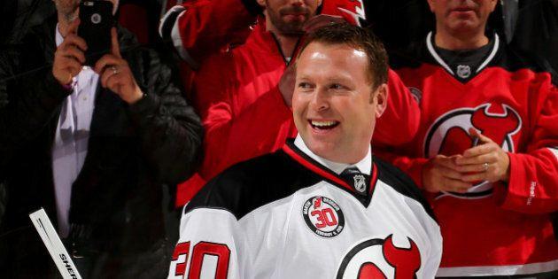 NEWARK, NJ - FEBRUARY 09: Former New Jersey Devils goaltender Martin Brodeur smiles as he leaves the...