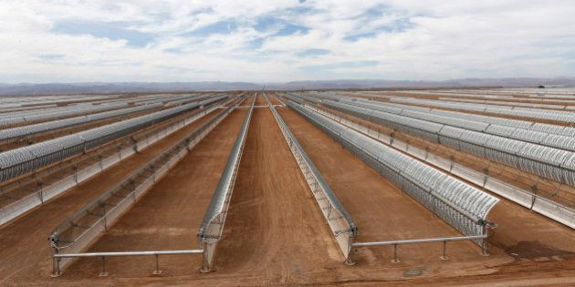 Construction of Morocco's Noor I solar power plant, is nearing completion near Ouarzazate, Morocco, Friday...