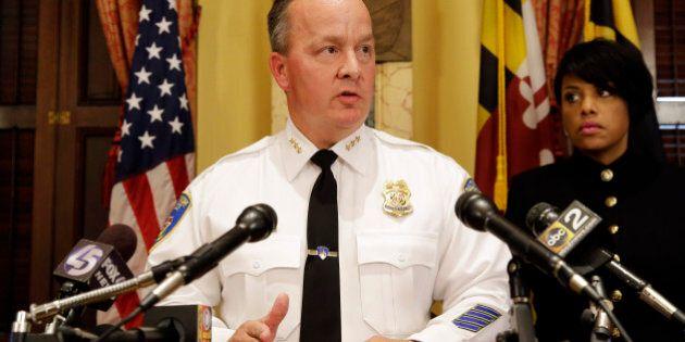 Interim Baltimore Police Department Commissioner Kevin Davis speaks alongside Mayor Stephanie Rawlings-Blake,...