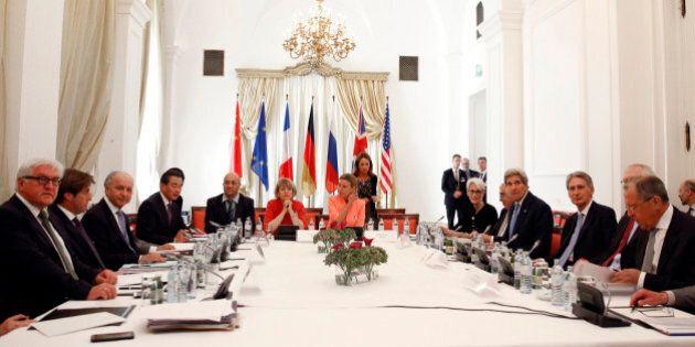 German Foreign Minister Frank-Walter Steinmeier, left, French Foreign Minister Laurent Fabius, 3rd left,...