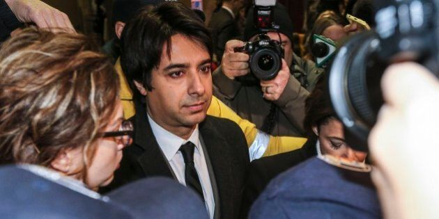 TORONTO, ON - JANUARY 8: Jian Ghomeshi leaves College Park Court after his appearance January 8, 2015....