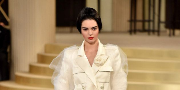 PARIS, FRANCE - JULY 07:  Kendall Jenner walks the runway during the Chanel show as part of Paris Fashion Week Haute Couture Fall/Winter 2015/2016 at the Grand Palais on July 7, 2015 in Paris, France.   (Photo by Gareth Cattermole/Getty Images)