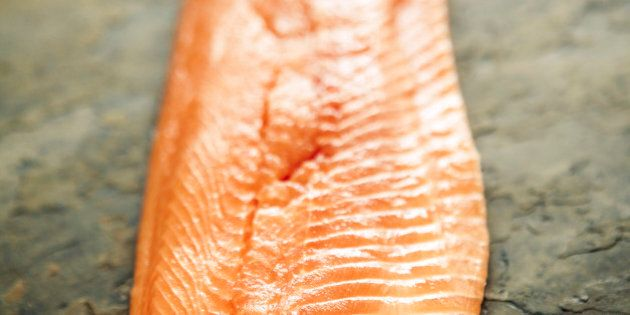 Fish and seafood: Trout fillet, skin side down, with salt and pepper, on slate.