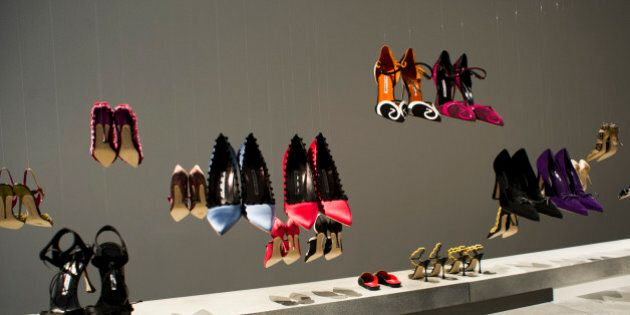 The Manolo Blahnik shoe collection is displayed during Fashion Week on Sunday, Feb. 9, 2014, in New York....