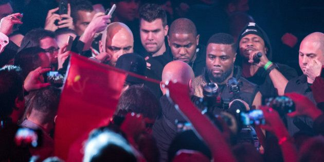 MONTREAL, QC - JANUARY 30: Jean Pascal of Canada makes him way to ringside during the WBO, WBA, and IBF...