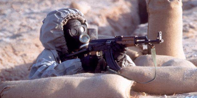 Syrian soldier wearing biohazard