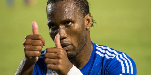 CARSON, CA - SEPTEMBER 12: Didier Drogba #11 of Montreal Impact makes faces to the crowd after missing a shot on goal during Los Angeles Galaxy's MLS match against Montreal Impact at the StubHub Center on September 12, 2015 in Carson, California. The match ended in 0-0 tie (Photo by Shaun Clark/Getty Images)